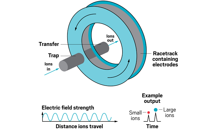 Cyclic ion mobility is a geometric variant of TWIMS in which ions are sent around a racetrack. In this version, a continuously varying electric field is still used to separate ions, but it travels around the racetrack instead of linearly. The device achieves a higher resolving power because it can send ions around the cycle multiple times. Just as with standard traveling wave devices, smaller ions usually elute faster than larger ions. The elution order can change, however, if smaller, faster ions lap larger, slower ions. To remove that possibility, scientists can selectively inject small groups of mass-selected ions into the racetrack, or they can selectively eject from the cyclic device ions that are outside the mobility range of interest.